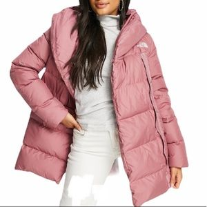 THE NORTH FACE Water Repellent 550 Fill Power Down Jacket Coat NEW Mauve Pink